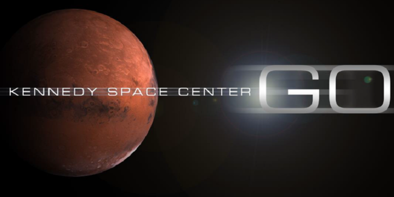 image of Mars with the work Kennedy Space Center is Go